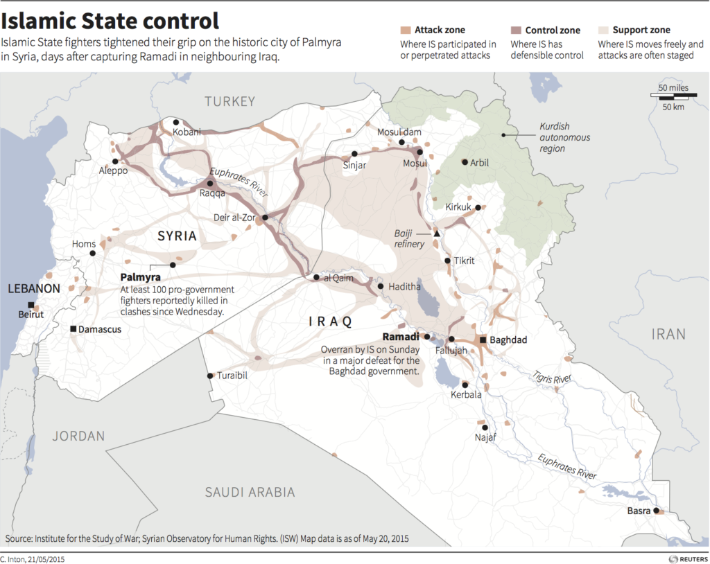 Map of Syria and Iraq showing ISIS area of control. Credit: Reuters