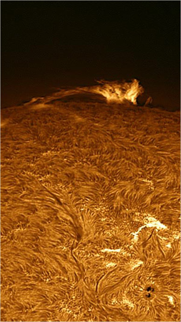 A beautiful image of activity on the surface of the Sun, taken by a Solar telescope at Zeds Astronomical Observatory in Lahore. Credit: The Friday Times