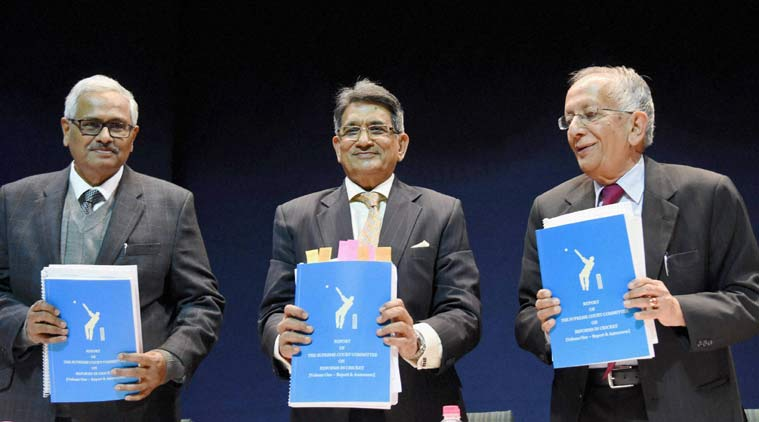 Lodha Committee members holding copies of their report on the BCCI. Credit: PTI