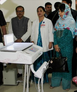 Jammu and Kashmir chief minister Mehbooba Mufti along with deputy chief minister Nirmal Singh during the inauguration of the Government Dental College and Hospital in Jammu on Tuesday. Credit: PTI