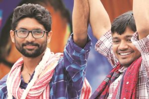 Jignesh Mevani and Kanhaiya Kumar at a rally in  Una. Credit: PTI