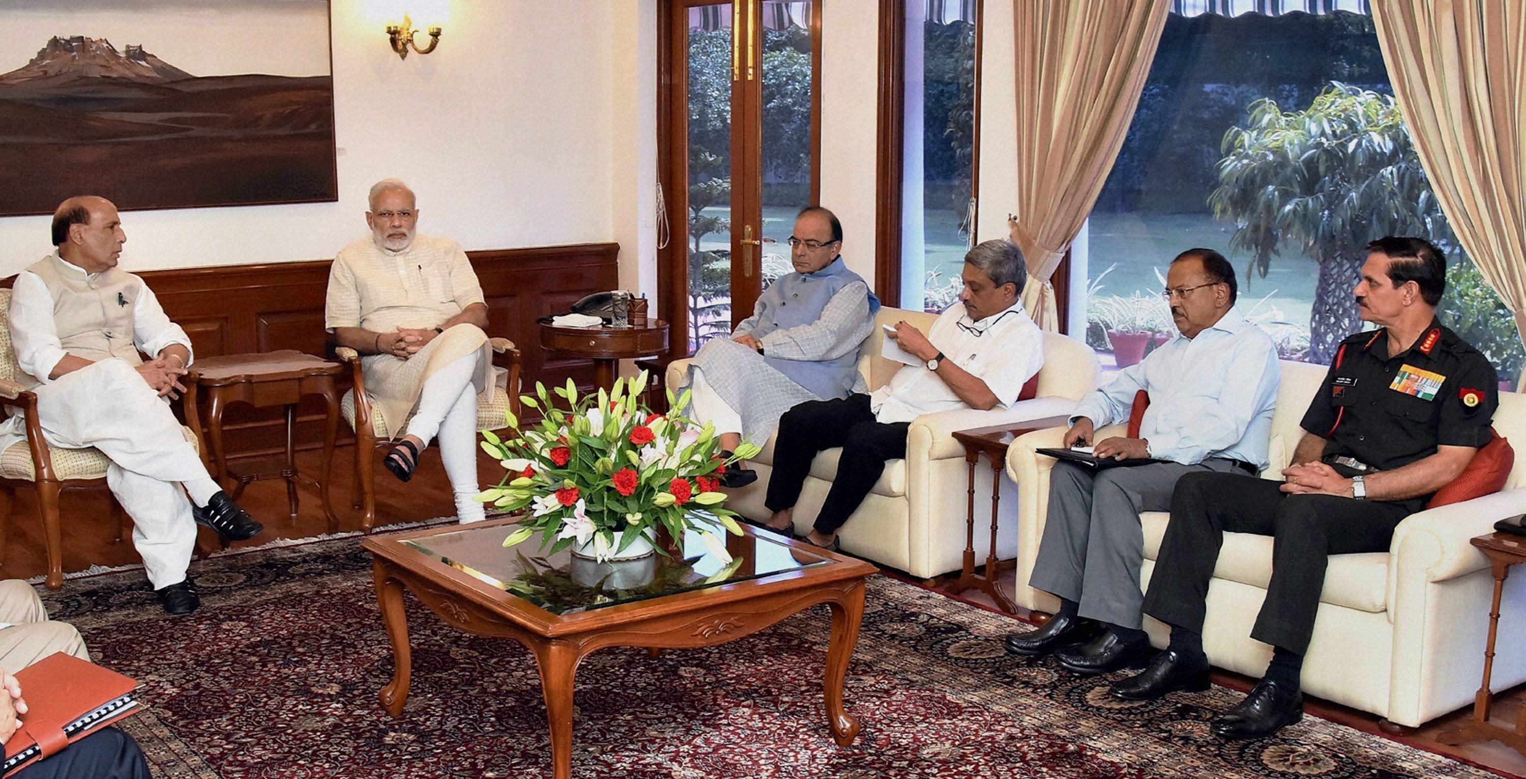 Prime Minister Narendra Modi with home minister Rajnath Singh, finance minister Arun Jaitley, defence minister Manohar Parrikar, NSA Ajit Doval and army chief Gen Dalbir Singh Suhag at a high level meeting in the wake of Uri attack, in New Delhi on Monday. Credit: PTI