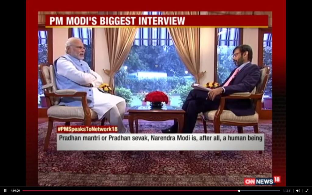 Screenshot of Prime Minister Narendra Modi's interview to Network18