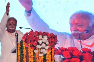 RSS chief Mohan Bhagwat speaking at Agra College last month. Credit: PTI