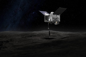This artist's concept shows the Origins Spectral Interpretation Resource Identification Security - Regolith Explorer (OSIRIS-REx) spacecraft contacting the asteroid Bennu with the Touch-And-Go Sample Arm Mechanism or TAGSAM. The mission aims to return a sample of Bennu's surface coating to Earth for study as well as return detailed information about the asteroid and it's trajectory. Credit: NASA's Goddard Space Flight Center