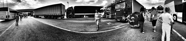 Panoramic shot of the queue of trucks at the Serbian checkpoint. Credit: Shome Basu