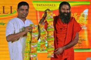 File photo of Acharya Balkrishna and Baba Ramdev  of Patanjali Ayurveda. Credit: PTI