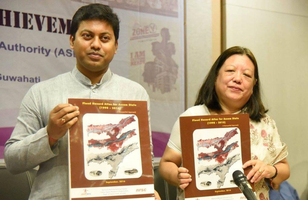 Release of the updated Flood Hazard Atlas for Assam state by Pallab Lochan Das. Credit: ISRO