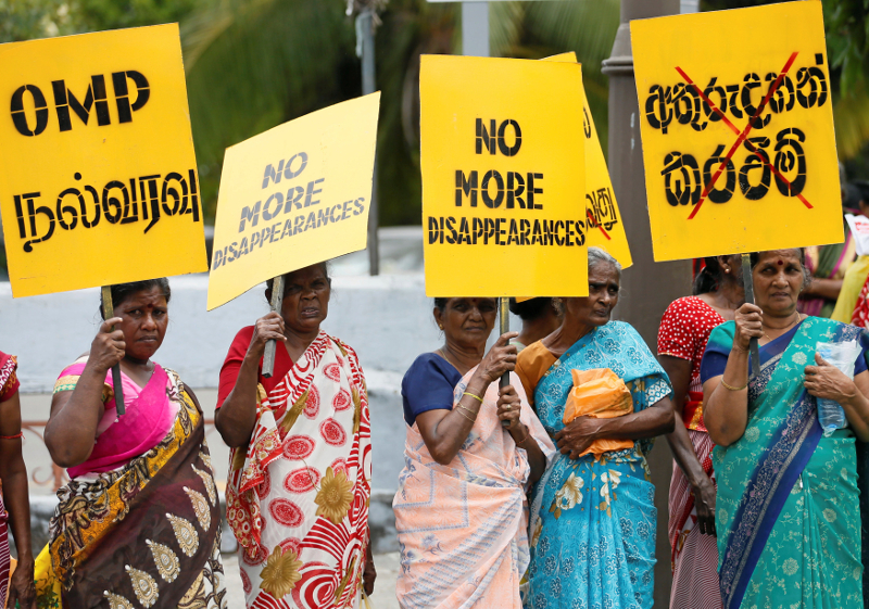 Protesters rally as UN chief Ban Ki-moon visits Sri Lanka. Credit: Reuters