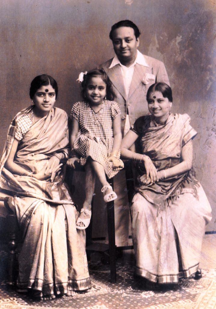 S.D. Subbulakshmi , K. Subrahmanyam and MS with Baby Saroja. Credit: Author's collection