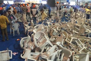 Chairs strewn around by angry Patidars at a rally called by the BJP in Surat. Credit: PTI