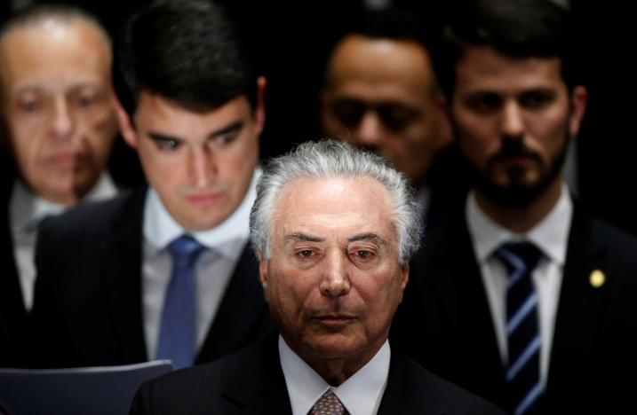 Brazil's new President Michel Temer attends the presidential inauguration ceremony after Brazil's Senate removed President Dilma Rousseff in Brasilia, Brazil, August 31, 2016. Credit: Reuters/Ueslei Marcelino