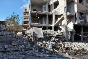 A general view shows the damage at a site of an explosion in Bab Tadmor in Homs, Syria in this handout picture provided by SANA on September 5, 2016. SANA/Handout via Reuters