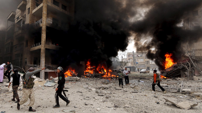Al-Dubeit neighborhood in Idlib city, April 5, 2015. Credit: Reuters