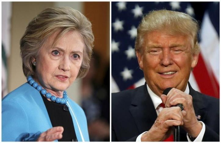 A combination photo shows US Democratic presidential candidate Hillary Clinton (L) and Republican U.S. presidential candidate Donald Trump (R) in Los Angeles, California on May 5, 2016 and in Eugene, Oregon, U.S. on May 6, 2016 respectively. Credit: REUTERS/Lucy Nicholson (L) and Jim Urquhart/File Photos