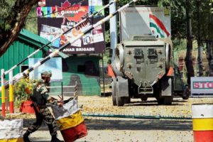 Army personnel in action inside the Army Brigade camp during a terror attack in Uri, Jammu and Kashmir on Sunday. Credit: PTI