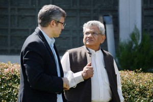 National Conference working president Omar Abdullah with CPI(M) general secretary and MP Sitaram Yechury, who was part of an all-party parliamentary delegation in Srinagar on Sunday. Credit: PTI/S.Irfan