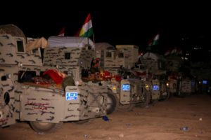 Peshmerga forces gather on the east of Mosul during preparations to attack Mosul, Iraq, October 16, 2016. Credit: Reuters