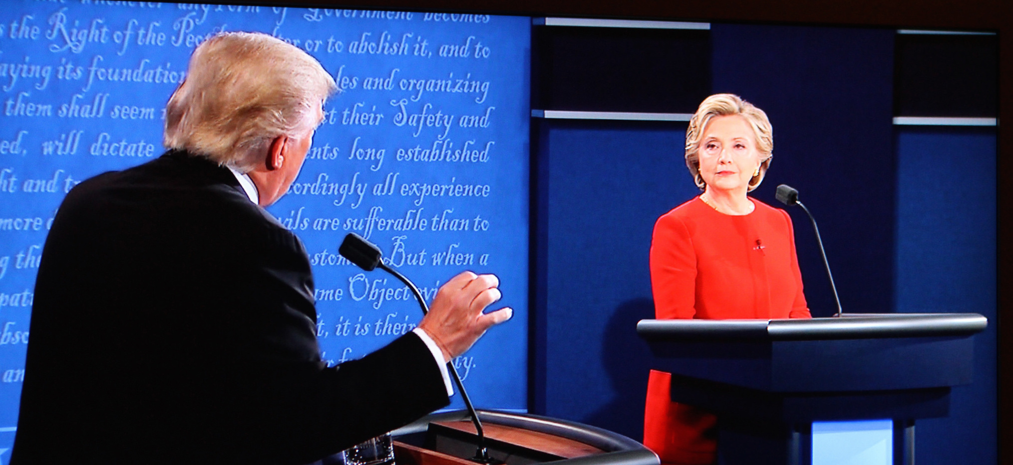 Donald Trump and Hillary Clinton during the first presidential debate. Credit: billy3001/Flickr, CC BY 2.0