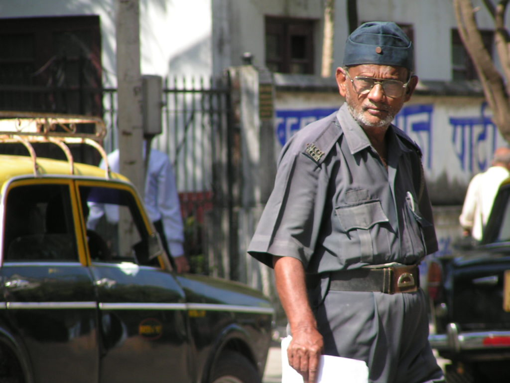 A security guard in Mumbai. Credit: Harini Calamur/Flickr CC BY-NC-ND 2.0