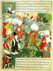 More details An Ottoman era manuscript depicting Rumi and Shams-e Tabrizi. Credit: Wikimedia Commons