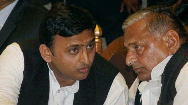 UP Chief Minister Akhilesh Yadav with father Mulayam Singh Yadav. Credit: PTI/Files