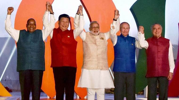 Prime Minister Narendra Modi with BRICS leader Brazil President Michel Temer, South Africa President Jacob Zuma, Russian President Vladimir Putin and Chinese President Xi Jinping pose for a group photo at the BRICS informal dinner in Benaulim, Goa on Saturday, October 15. Credit: PTI