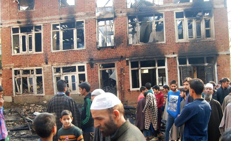 The Batagund Middle School, seen after the arson attack. Credit: Wasim Ashraf