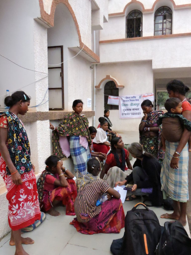 Women from Nendra gathered at the Collectorate. Credit: Special arrangement