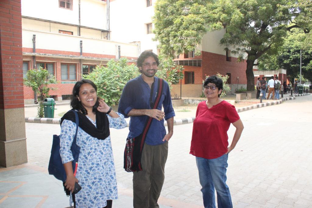 Delhi University students Apoorva Gautan (L), Usman Javed (C) and Lokesh (R). Credit: Radhika Oberoi