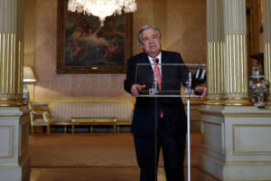 Nominated UN Secretary-General Antonio Guterres attends a news conference at Necessidades Palace in Lisbon, Portugal October 6, 2016.   Credit: Reuters