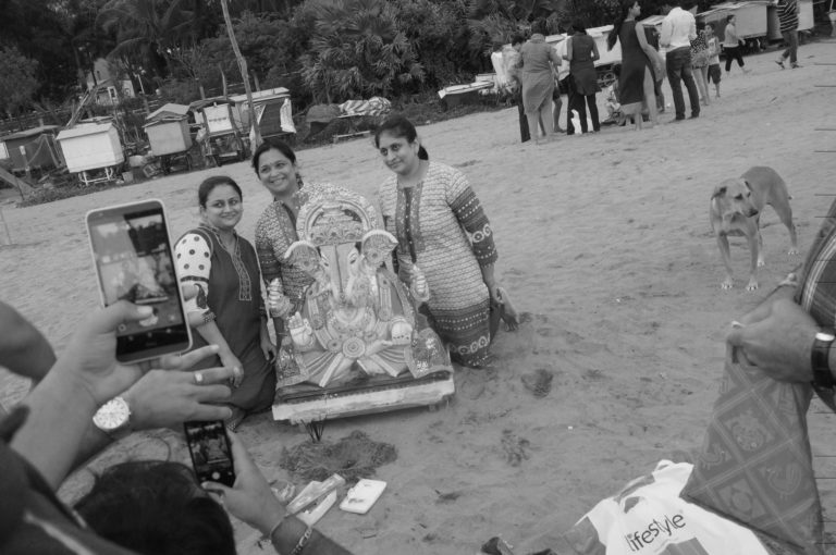 While families enjoy themselves during the immersion ceremony at Mumbai's Aksa beach, they overlook the hazards of using idols made of plaster of Paris and dyes containing mercury. As a result, the ecology of the place and water levels get adversely impacted.