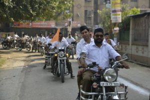 A preview of the RSS's new dress code: from half-pant to full. Credit: Shome Basu