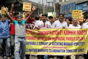 Kashmiri Pandits protesting in September this year. Credit: PTI