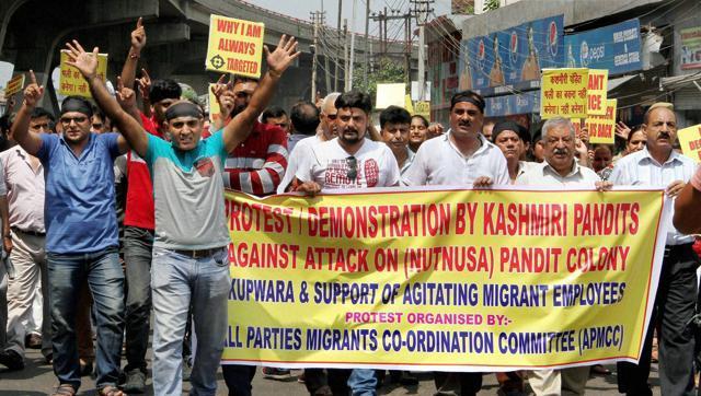Kashmiri Pandits protesting in September this year. Credit: PTI