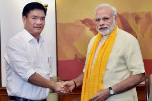 Pema Khandu with Prime Minister Narendra Modi in New Delhi in July, soon after taking over as Chief Minister. Credit:PTI