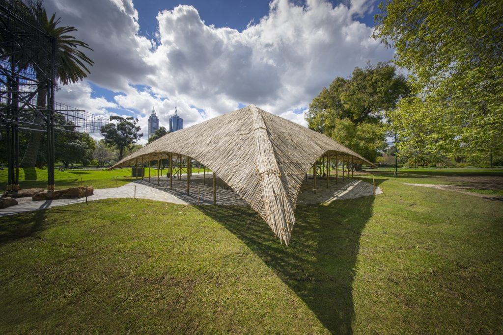 Side exterior of MPavilion. Credit: John Gollings