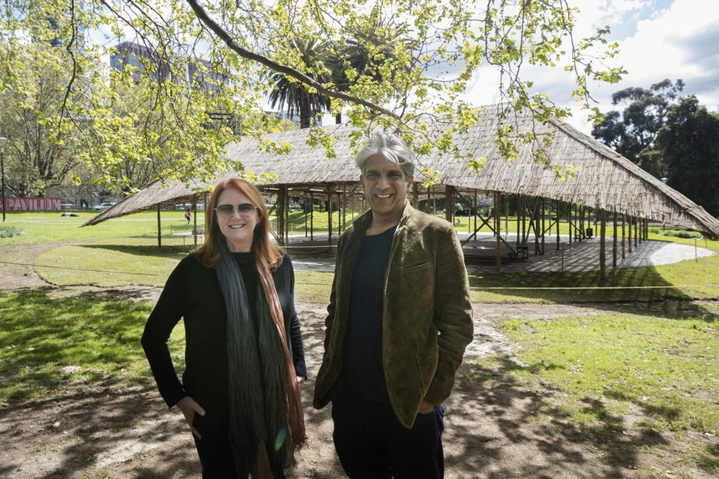 Mpavilion founder Naomi Milgrom and Indian architect Bijoy Jain. Credit: John Gollings