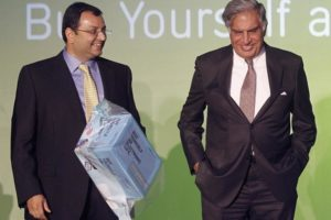 Tata Group's interim chairman Ratan Tata with former chairman Cyrus Mistry seen in a file photo. Credit: Reuters