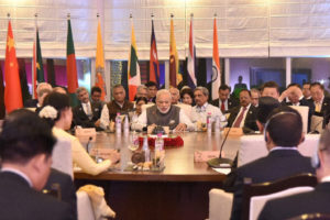 Prime Minister Narendra Modi during the BRICS and BIMSTEC Outreach Summits in Mobor, Goa on Sunday.  Credit: PTI