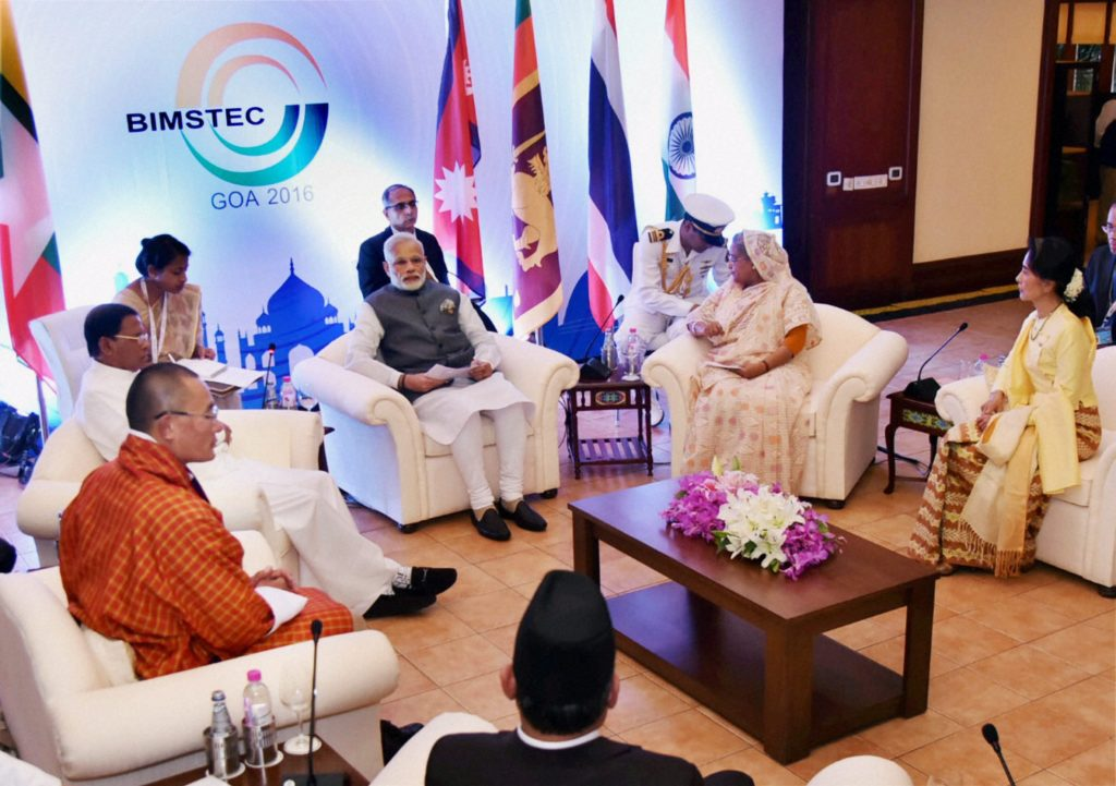 Prime Minister Narendra Modi with the BIMSTEC leaders at a meeting in Mobor, Goa on Sunday. Credit: PIB/PTI