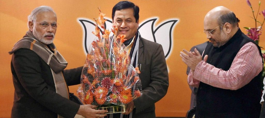 Assam chief minister Sarbananda Sonowal (centre) with Prime Minister Narendra Modi and BJP president Amit Shah. Credit: PTI/Files