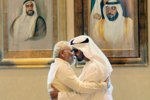 Prime Minister Narendra Modi with the Crown Prince of Abu Dhabi, Sheikh Mohammed bin Zayed Al Nahyan in Abu Dhabi earlier this year. Credit: PTI