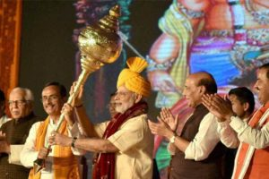 Prime Minister Narendra Modi in Lucknow on Dussehra. Credit: PTI