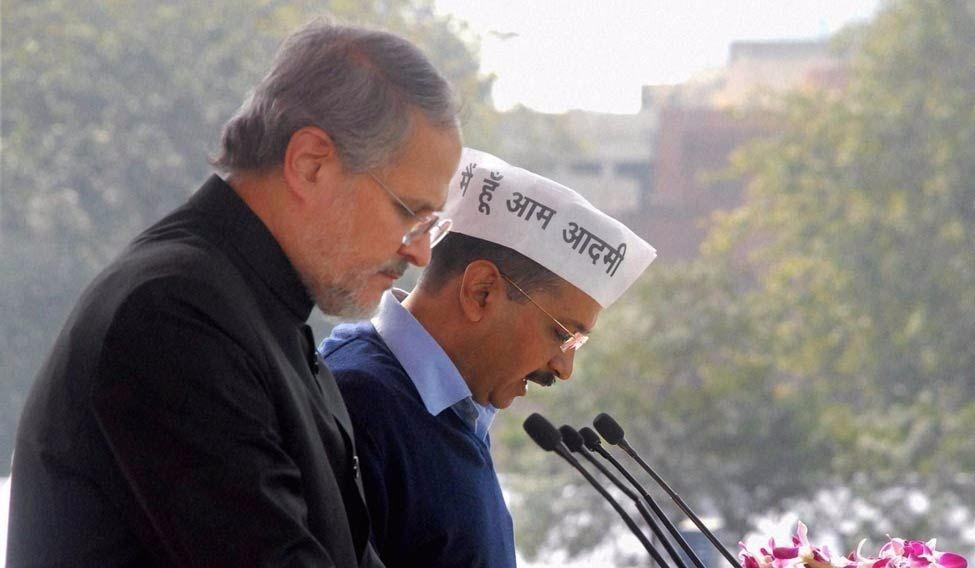 Lt. Governor of Delhi Najeeb Jung and Chief Minister Arvind Kejriwal. Credit: PTI