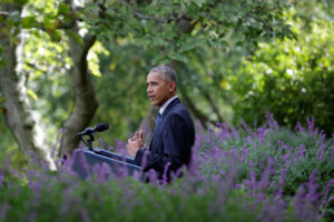 US President Barack Obama delivers a statement on the Paris Agreement in the Rose Garden of the White House in Washington, US, October 5, 2016. Credit: Reuters/Yuri Gripas