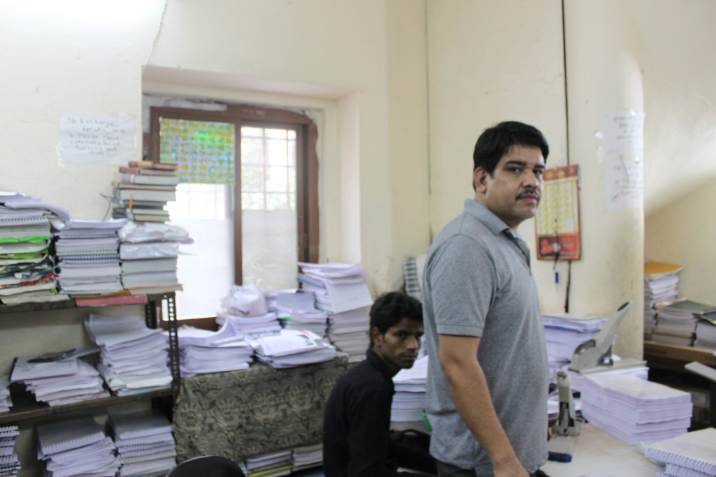 Dharam Pal Singh at Rameshwari Photocopy Services. Credit: Radhika Oberoi