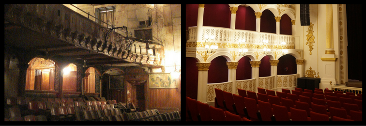 The interior of the Royal Opera House in Mumbai, before and after restoration. Credit: Special arrangement