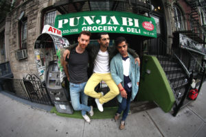 Left to right, producer Redinho, Riz Ahmed and Himanshu Suri, aka Heems. Credit: Erez Avissar