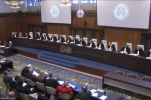The judges chamber at the ICJ. Credit: Screengrab from live proceedings of case.